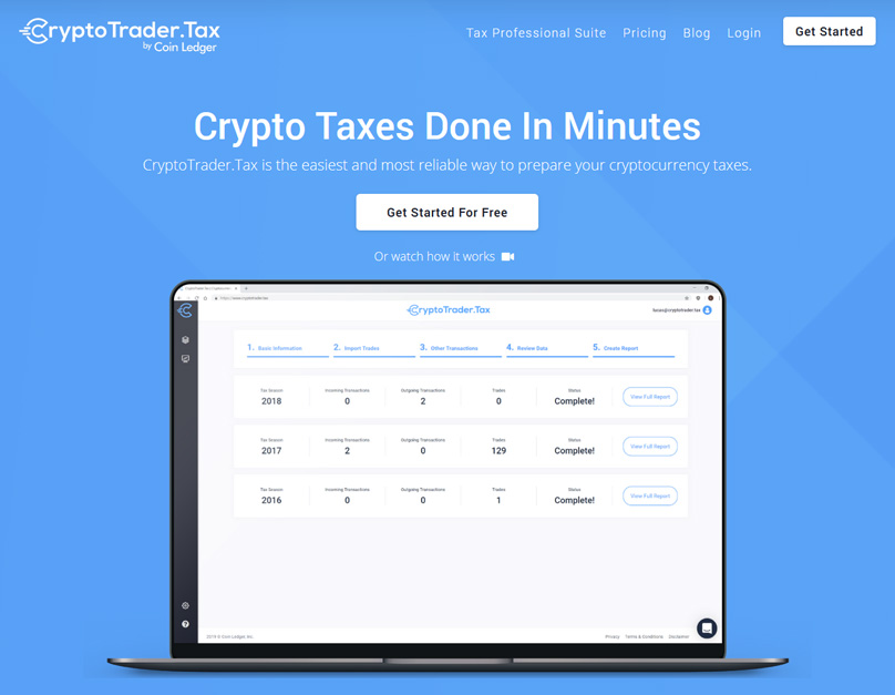 Homepage di Cryptotrader.tax
