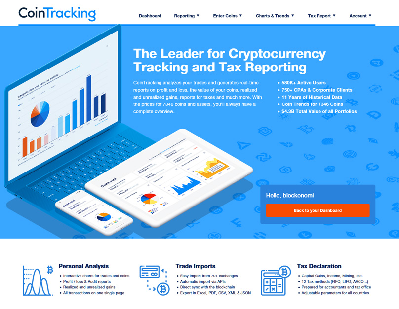 Homepage di Cointracking